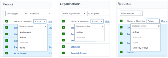 Screenshot of available actions