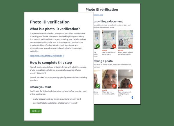 Screenshots of the photo ID check start screens