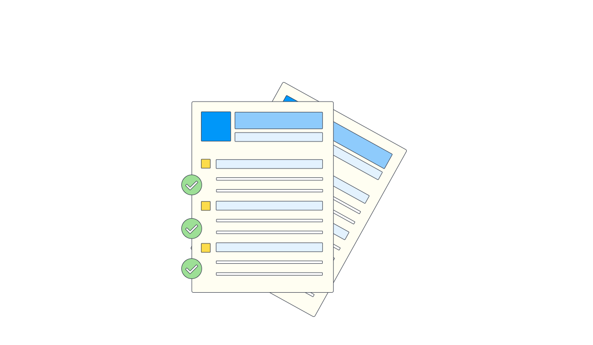 An illustration of two documents with a series of check marks against them