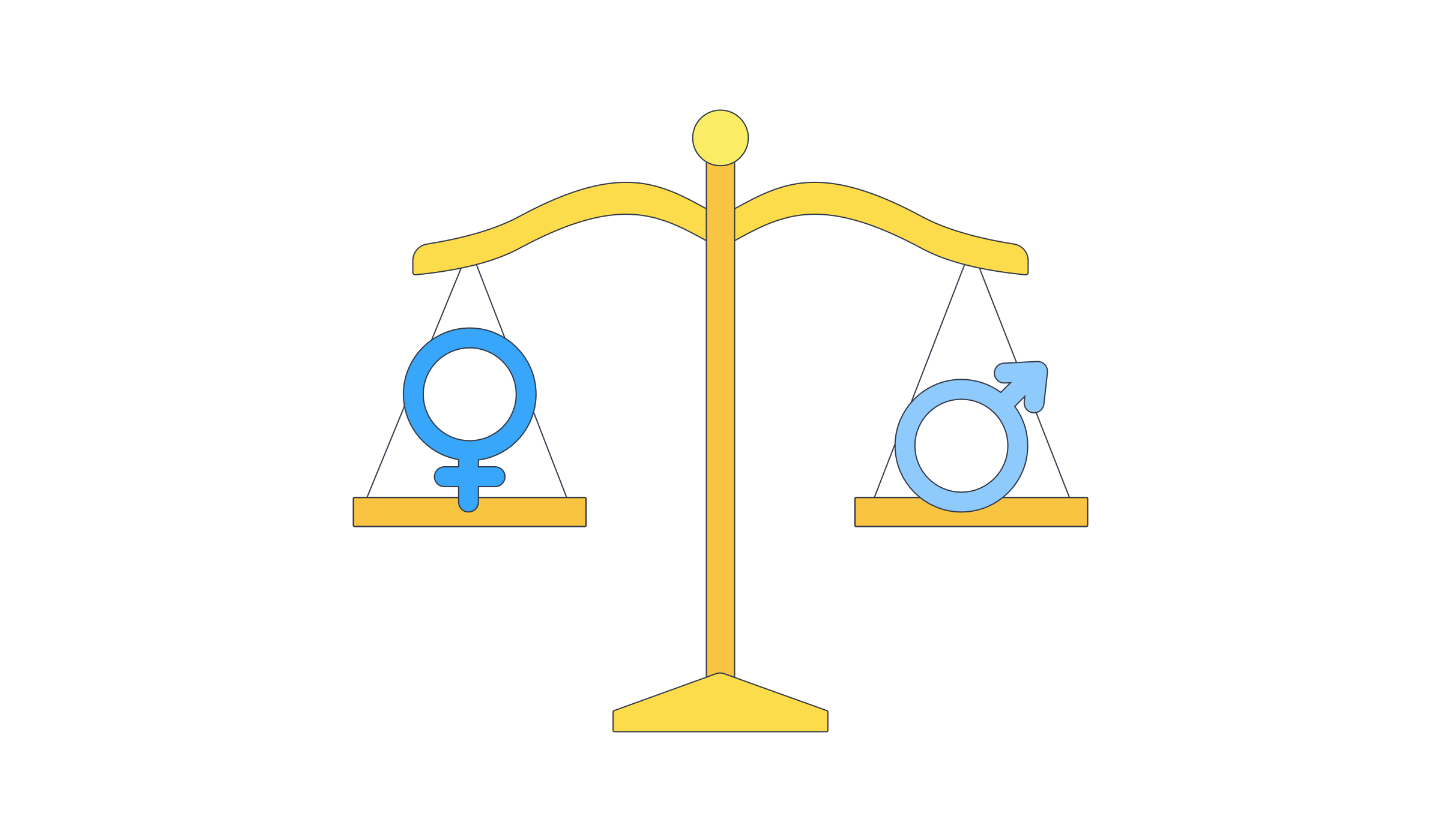 Illustration of scale of justice with gender symbols balancing