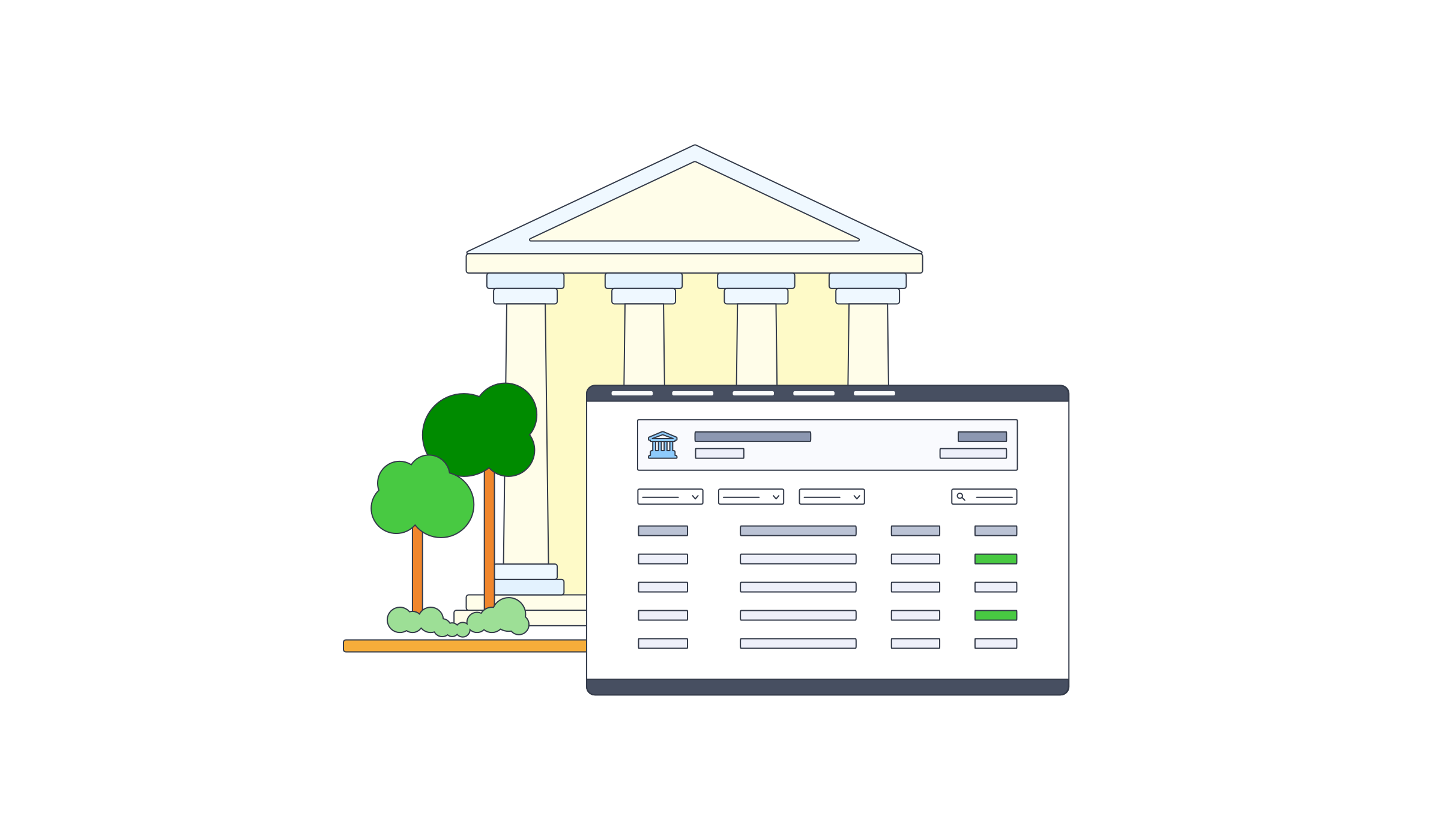 Illustration showing a bank building and a interface sitting beside it.