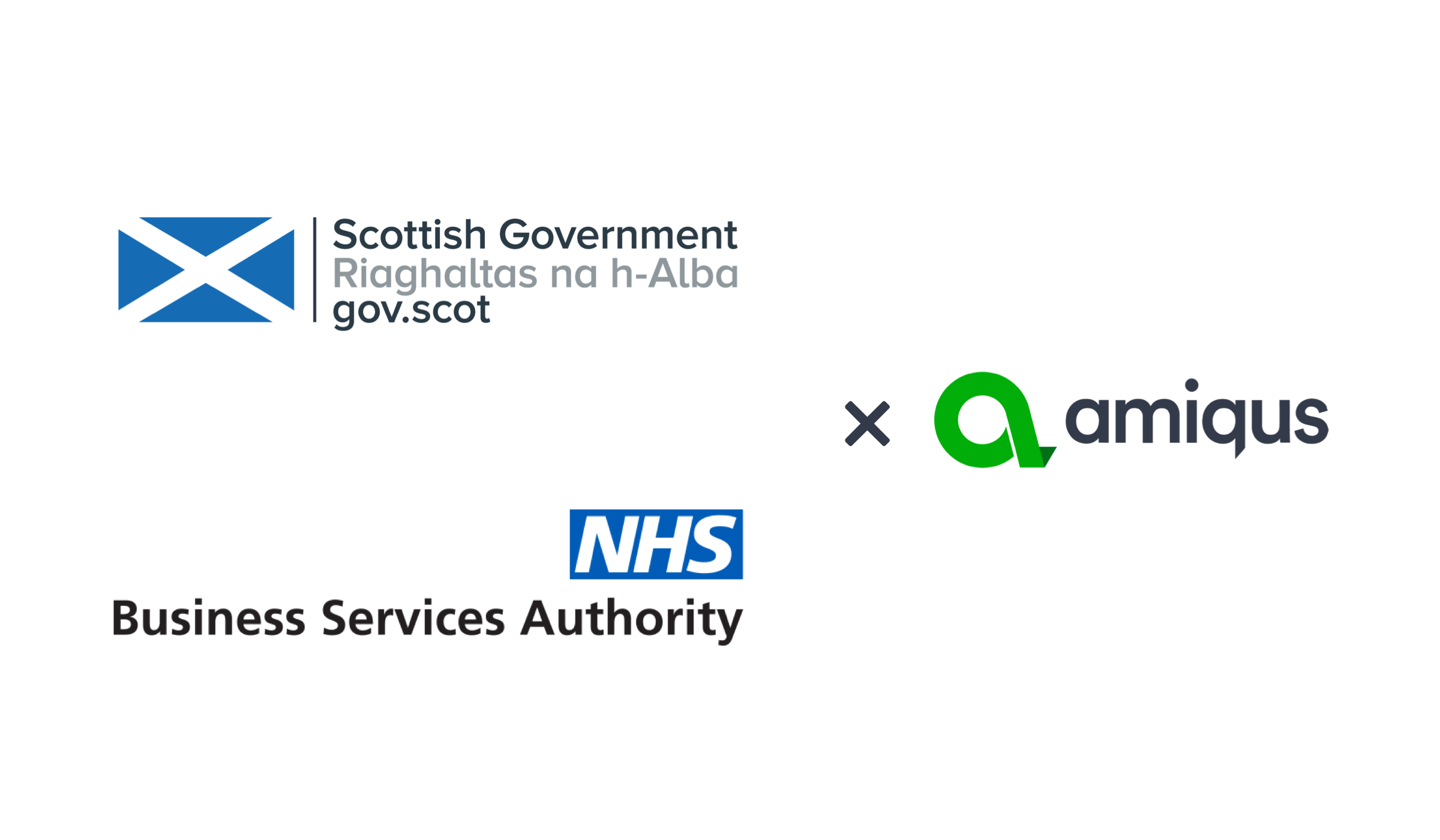 Logos of Amiqus, Scottish Government and NHSBSA