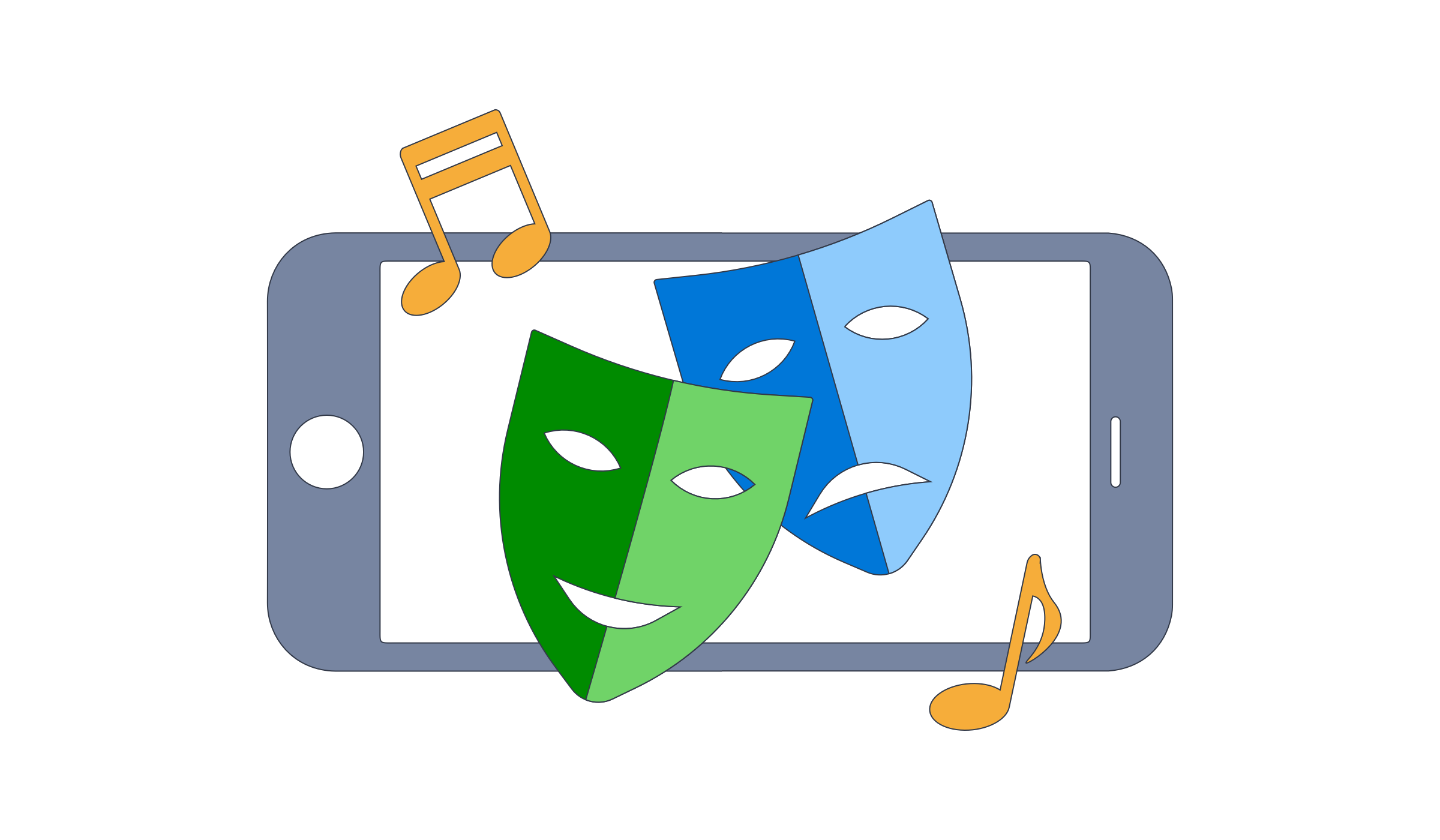 Illustration of mobile phone and theatre masks