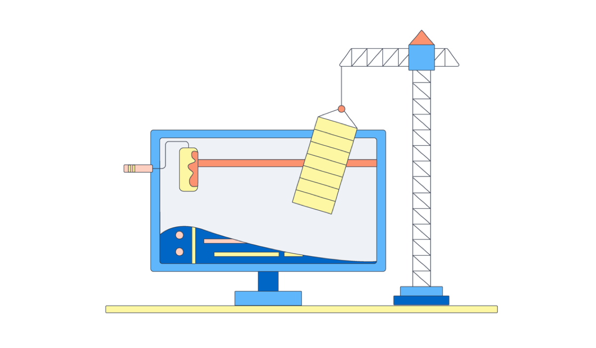 Illustration showing a computer monitor with a paint brush and mini crane doing it up.